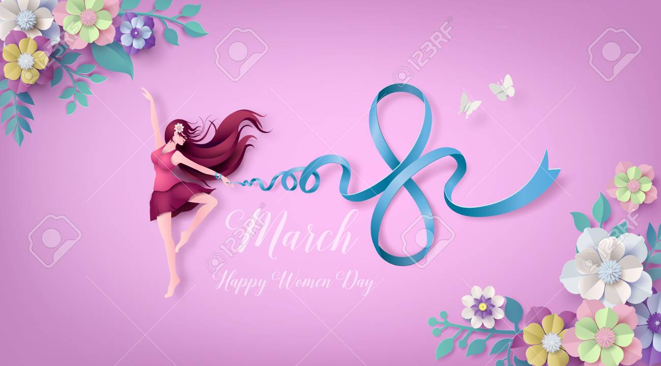 International Women's Day 8 march with frame of flower and leaves , Paper art 3d from digital craft style. - 125110330