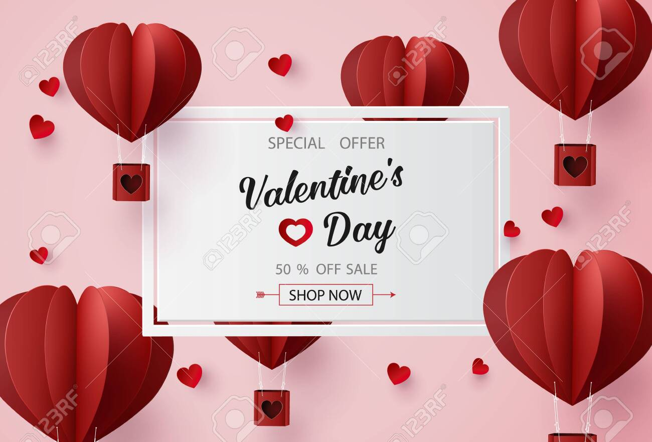 Valentines day sale with Balloon heart shape. paper art 3d from digital craft style. - 119957102