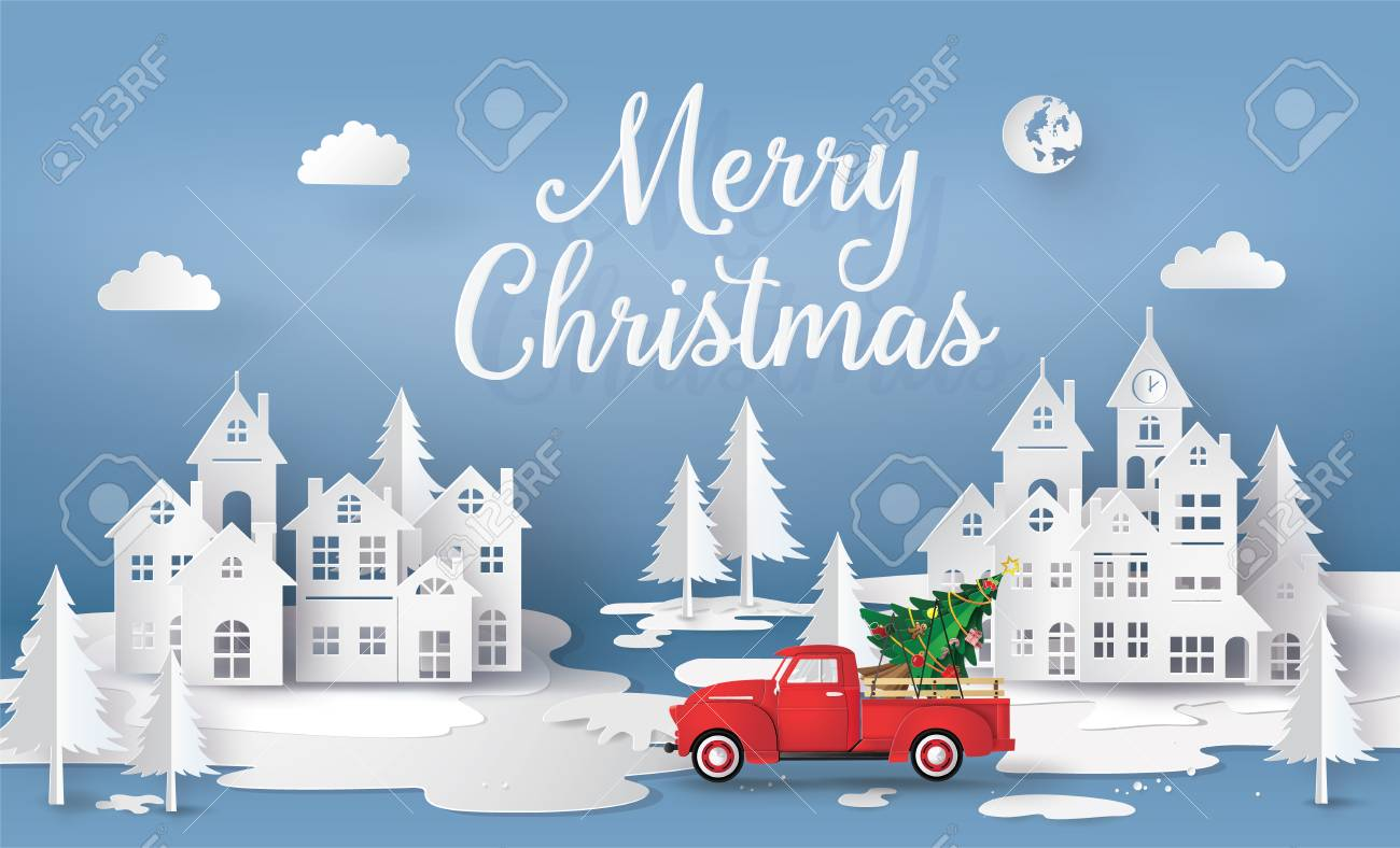 Merry Christmas and Happy New Year with red truck and christmas tree. paper art 3D style. - 119957137