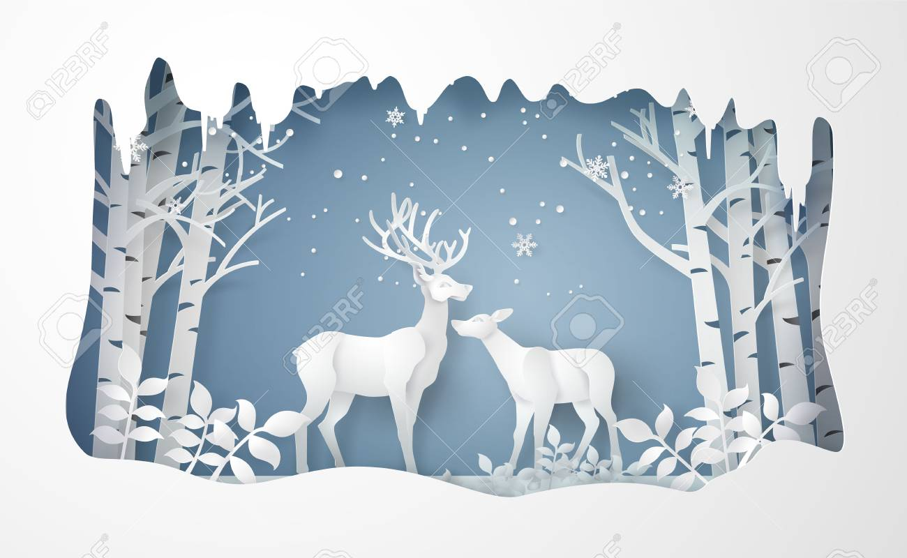 Deer in forest with snow.vector paper art style. - 125110360