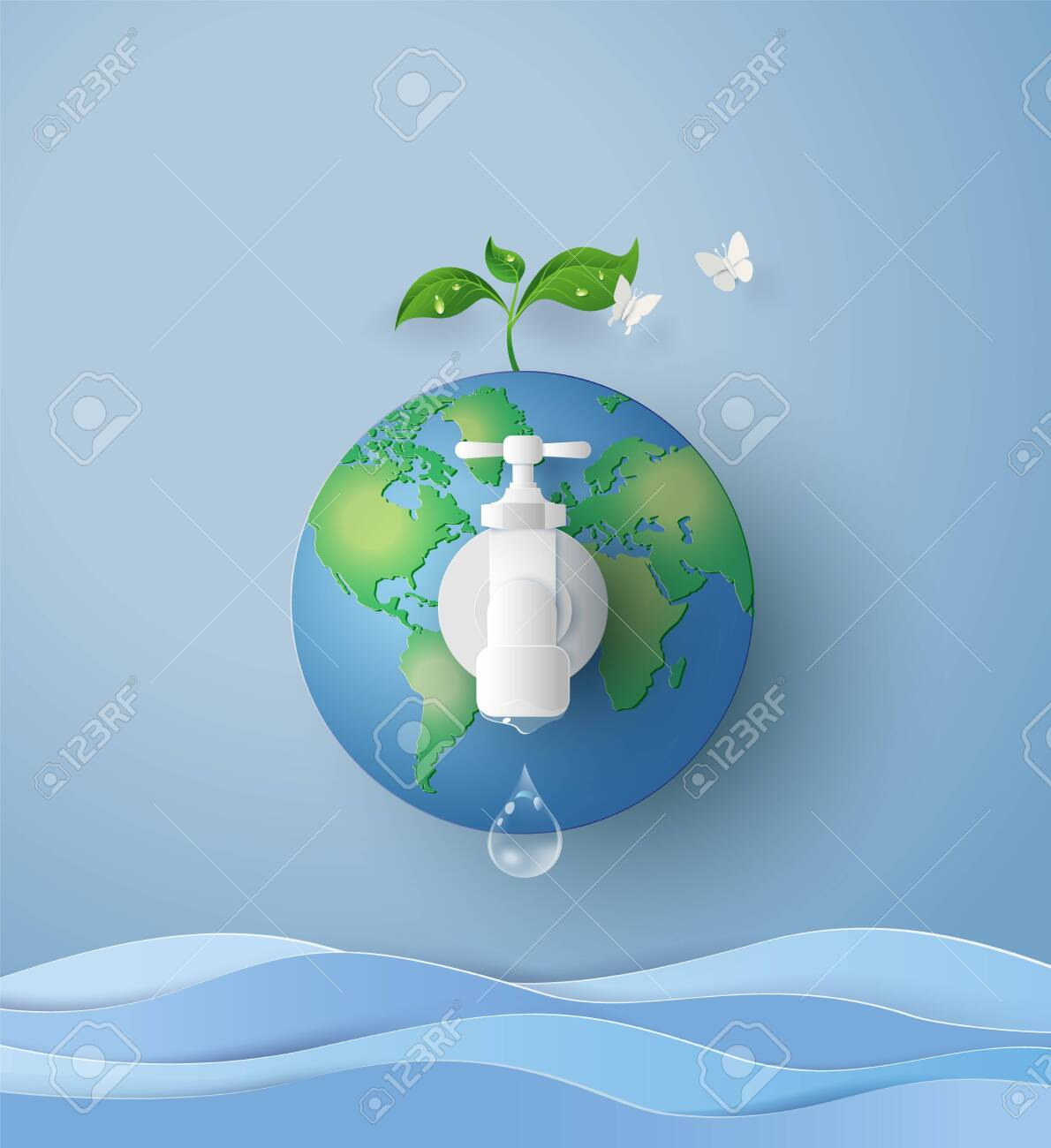 concept of eco and wolrd water day .paper art and craft style - 124278121