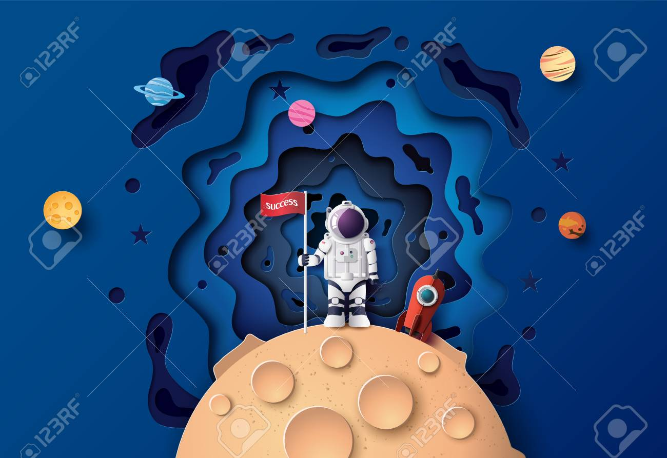 Astronaut with Flag on the moon, Paper art and digital craft style. - 127659185