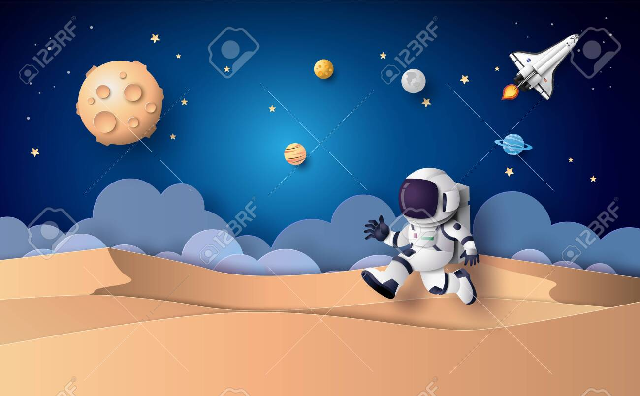 Astronaut floating in the stratosphere. Paper art and craft style. - 127659251