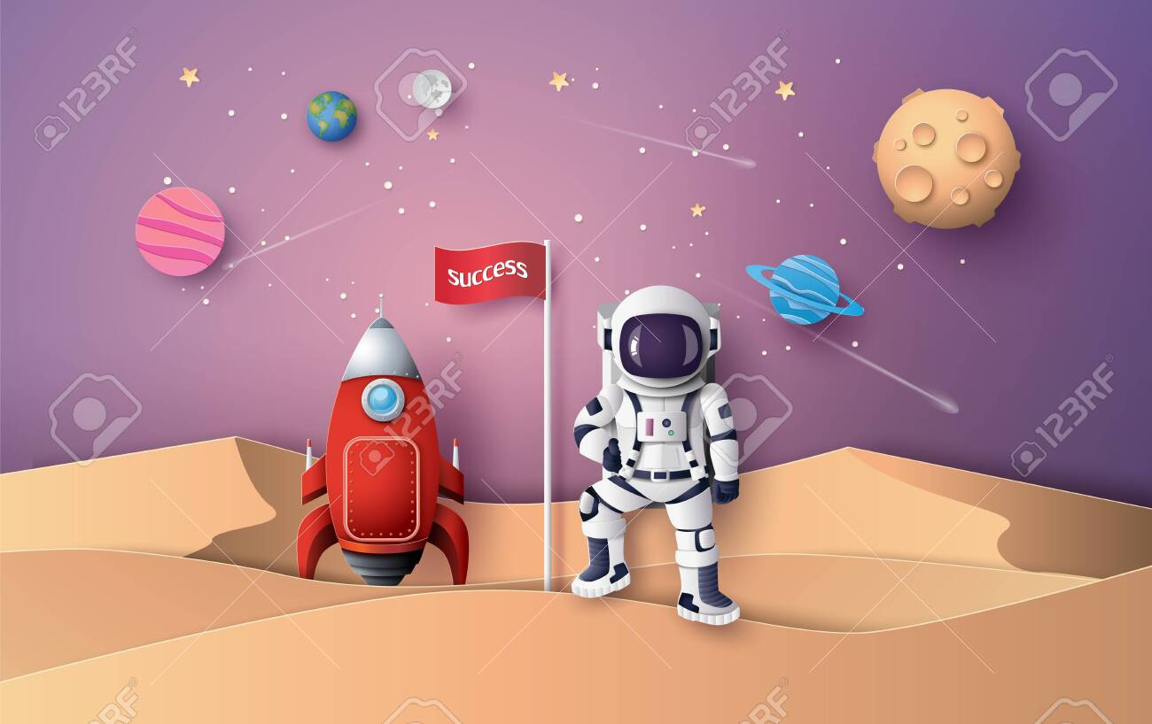 Astronaut with Flag on the moon, Paper art and digital craft style. - 127659255