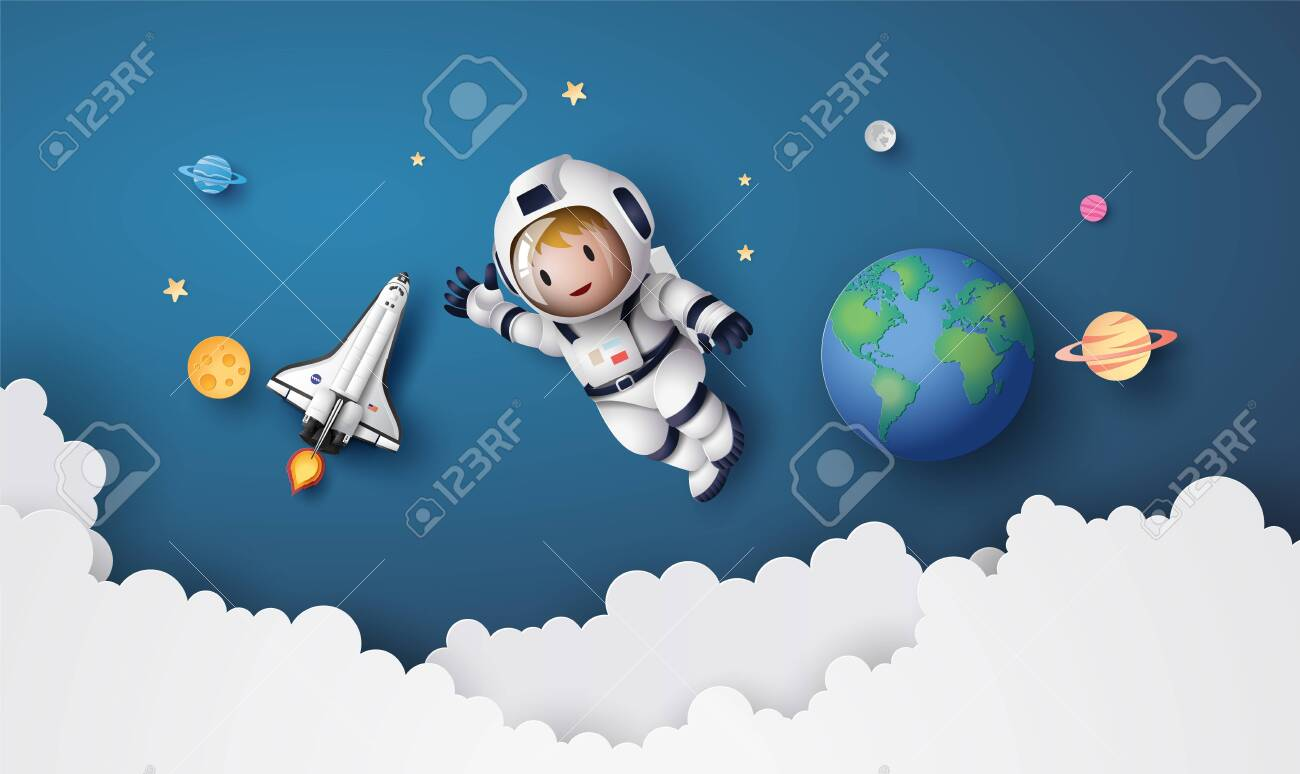 Astronaut Astronaut floating in the stratosphere. Paper art and craft style. - 127659264