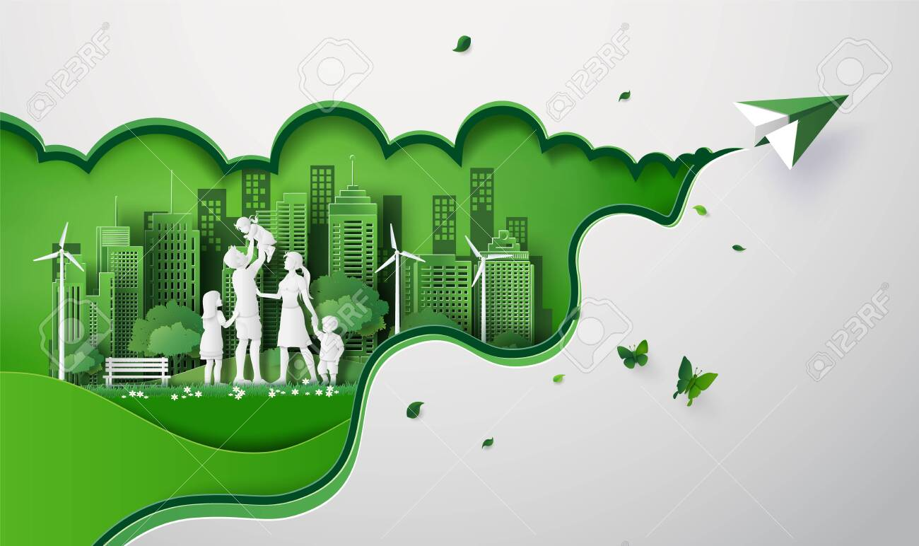concept of eco with happy family on the field and paper plane. paper art cut style - 132747413