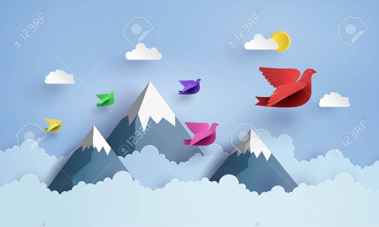 origami made colorful paper bird flying on blue sky over moutian with clound . paper art and craft style. - 137041596
