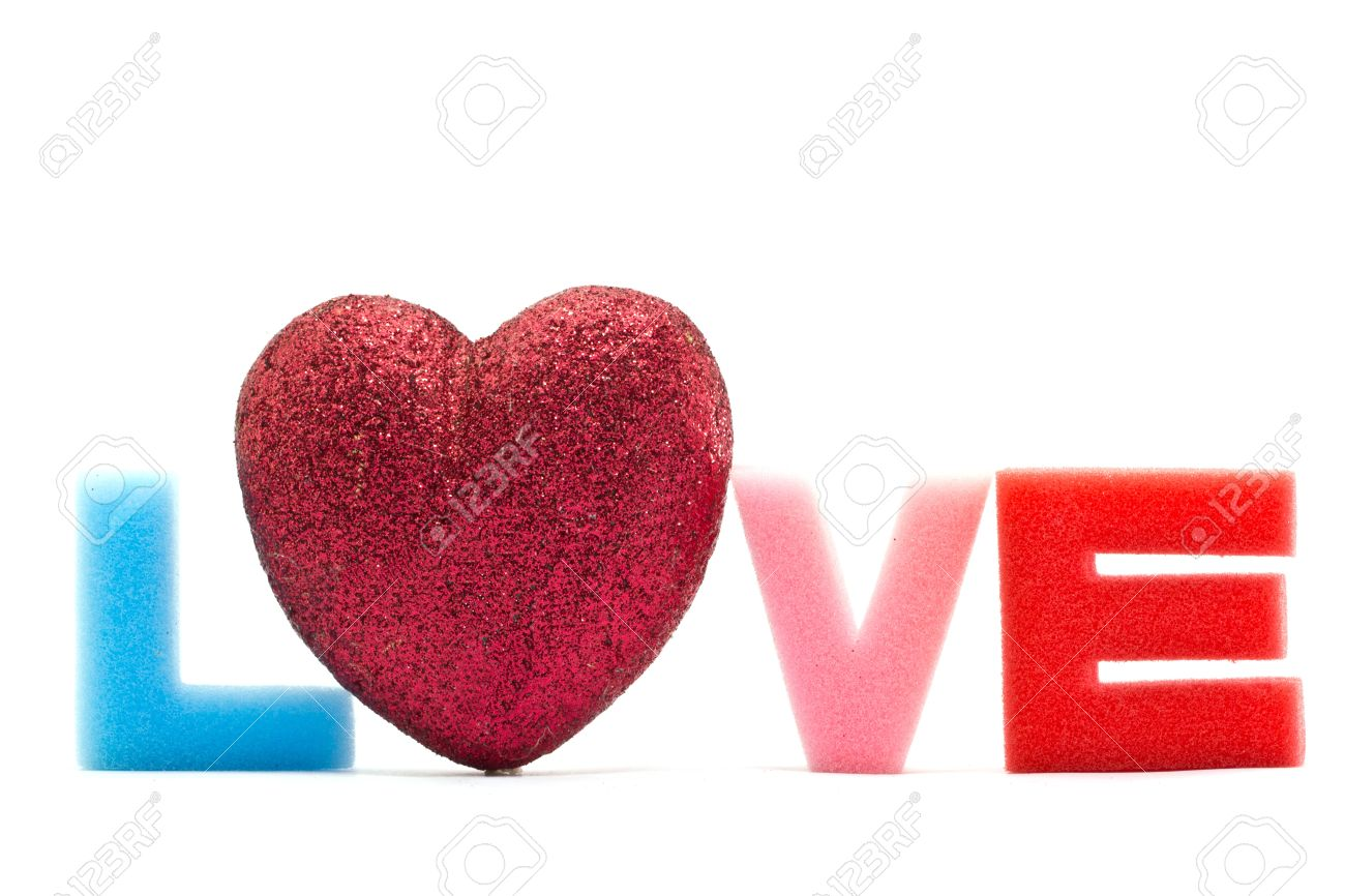 sponge alphabet l o v e letters love word stock photo