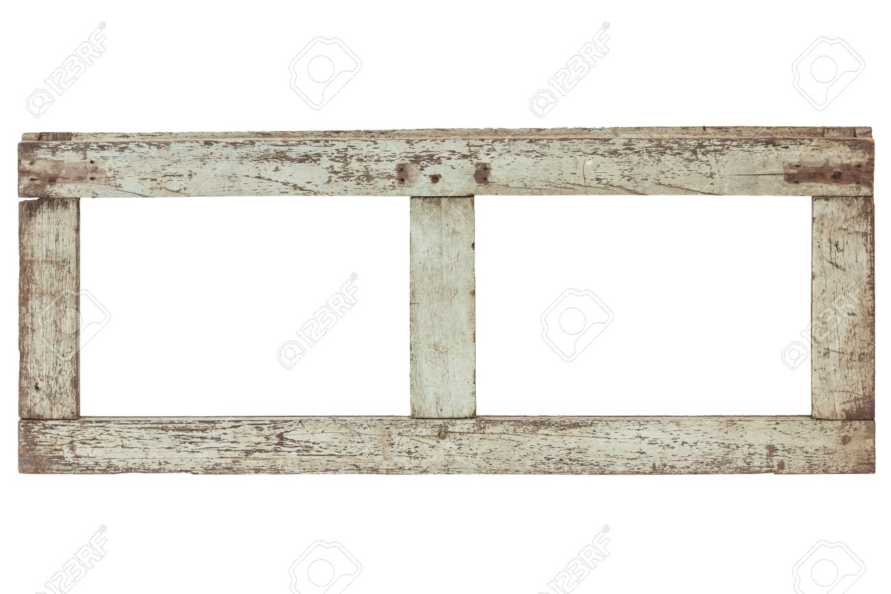 Vintage Old Wood Frame On White Background With Clipping Path Stock ...