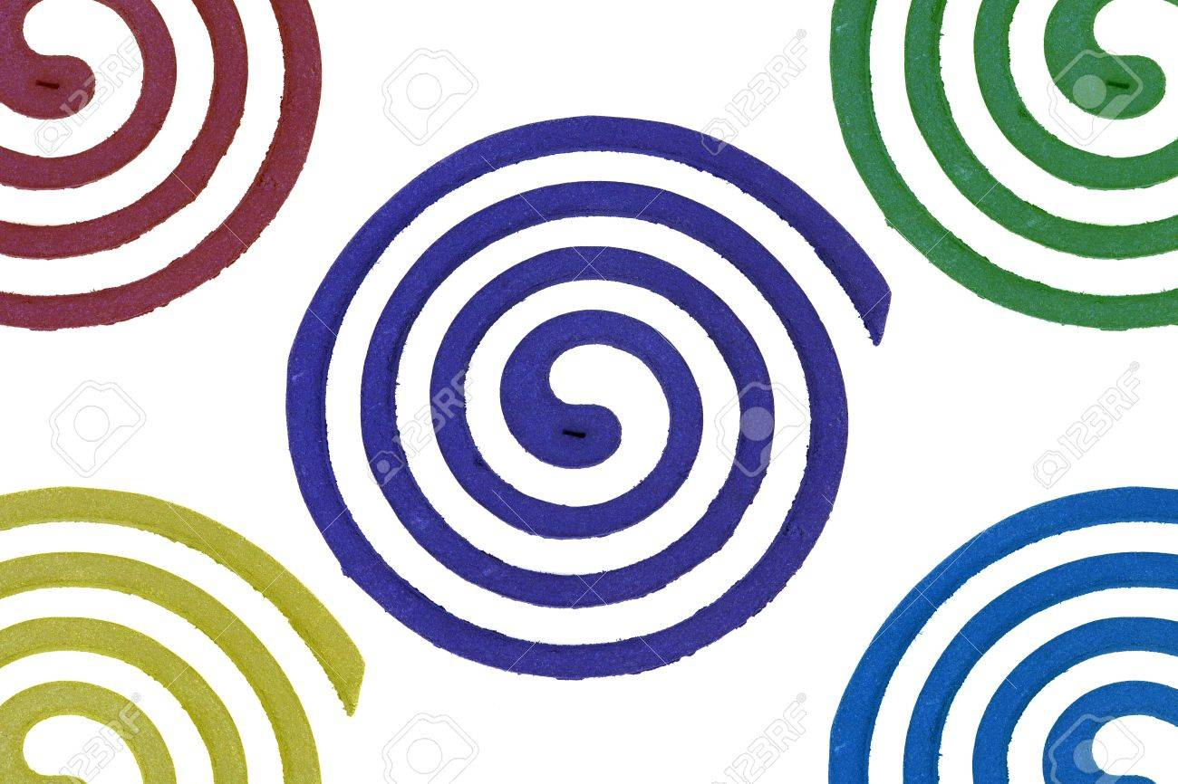 Mosquito repellent coils spiral on white background. Stock Photo - 10535873