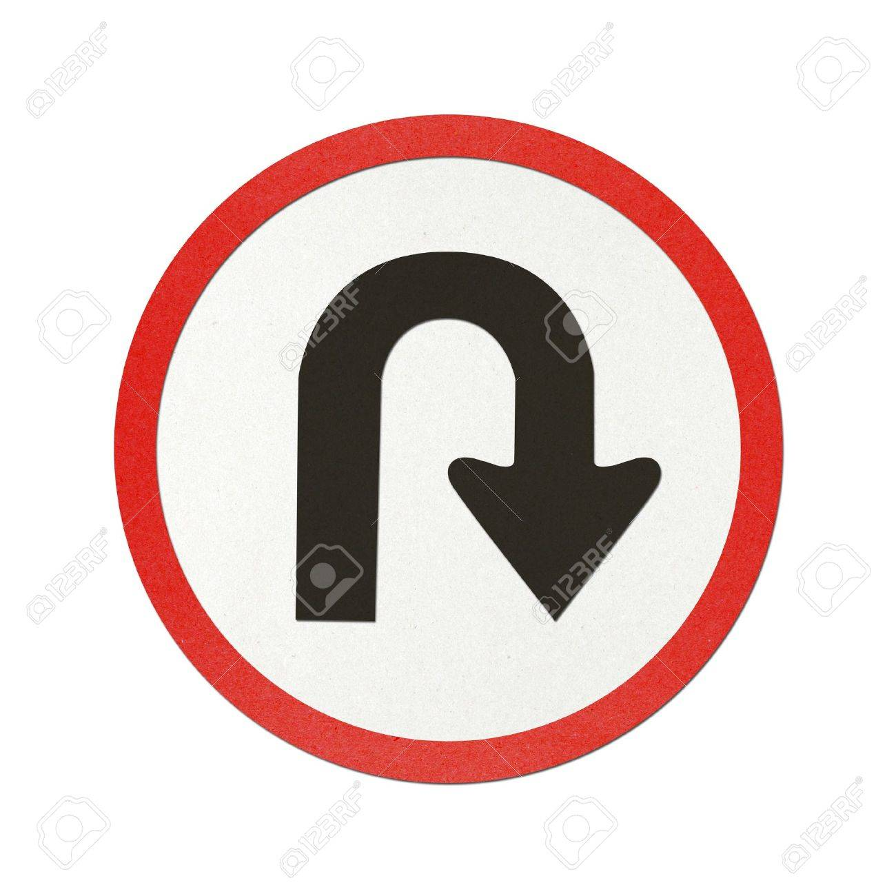U – Turn traffic sign recycled paper on white background. Stock Photo - 10727858
