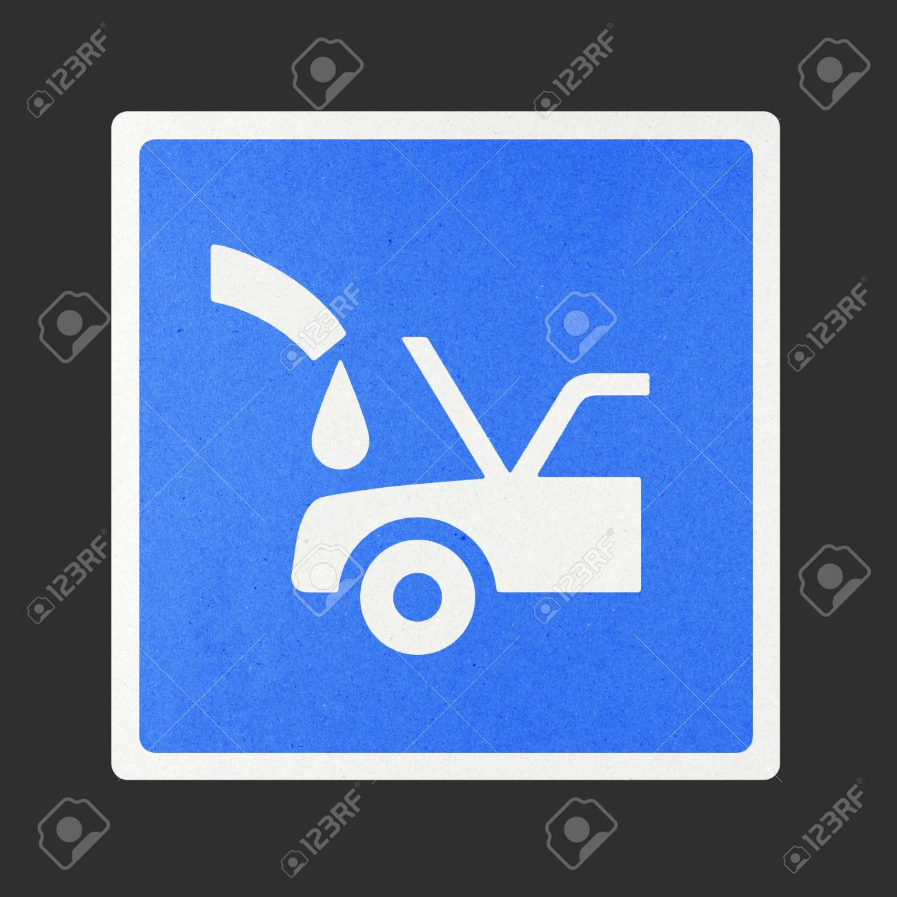Fill car radiator traffic sign recycled paper on white background. Stock Photo - 11924036