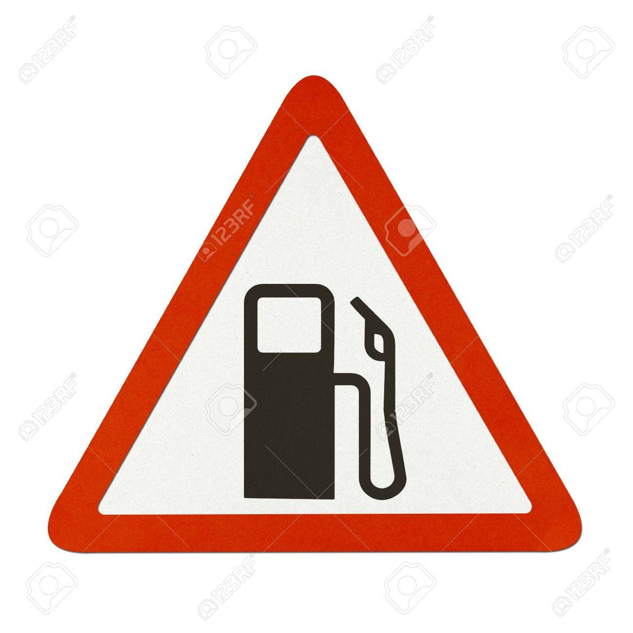 gas station traffic sign recycled paper on white background stock photo
