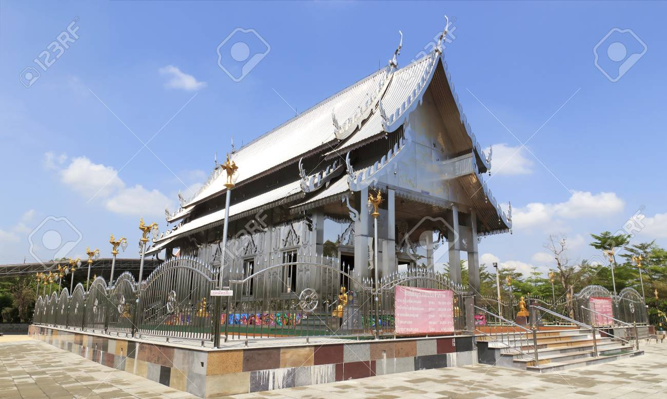 Stainless steel temple on clear blue sky in thailand. Stock Photo - 13491050