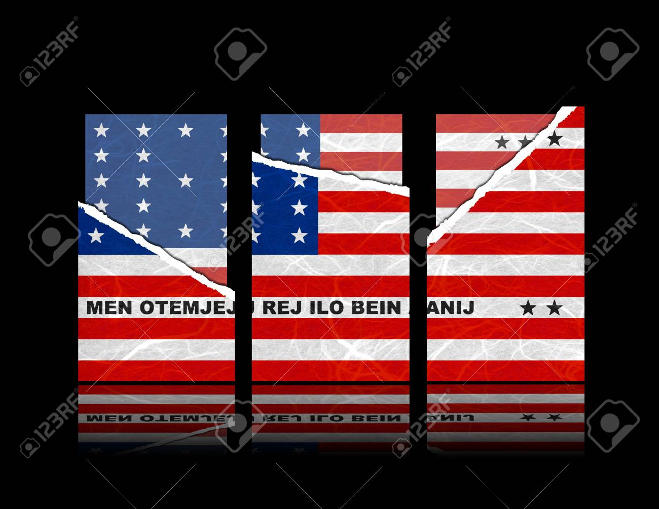 Bikini Atoll flag of tear paper with gift cards. Mulberry paper on black  background.