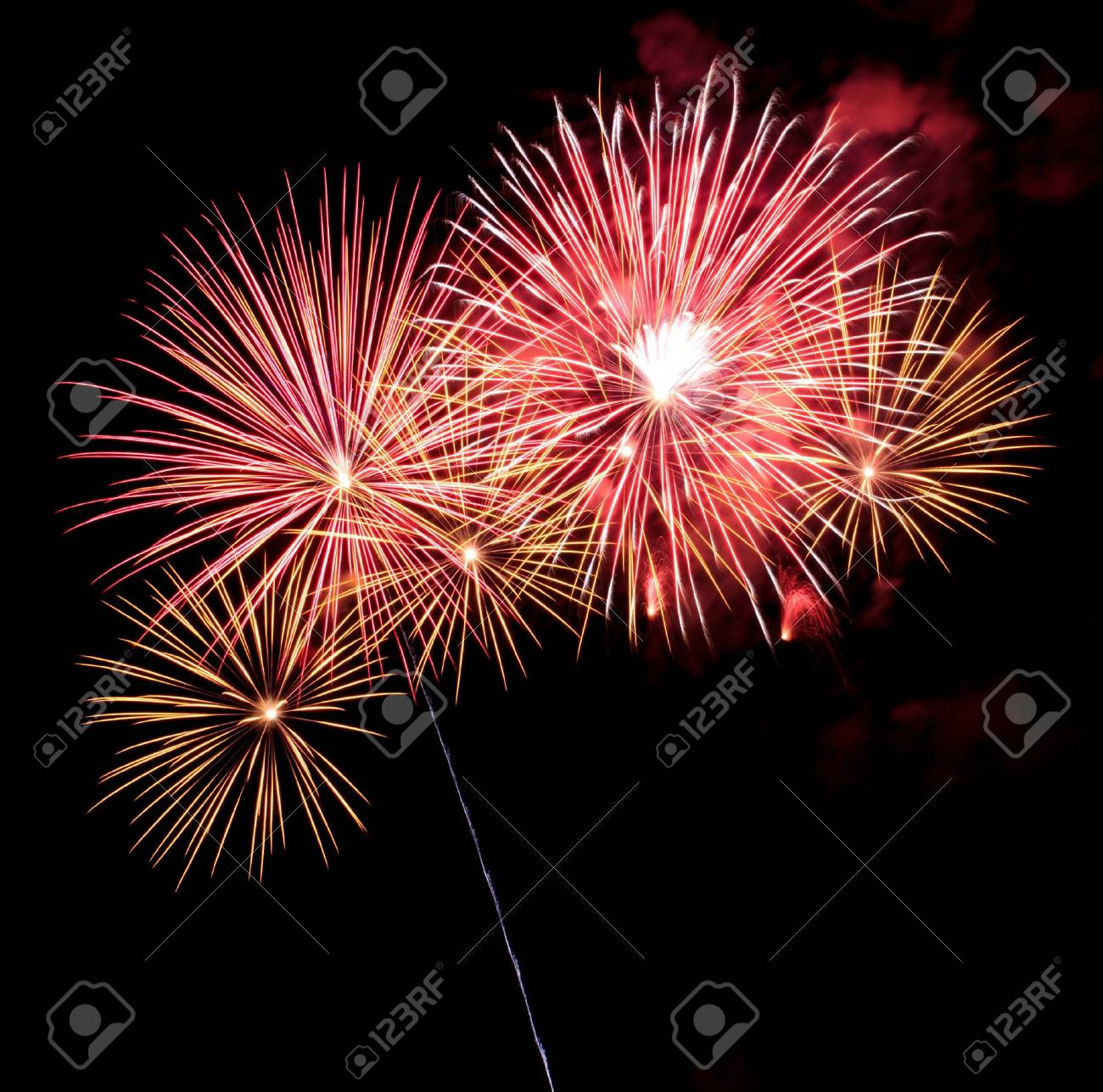 Exposure of multiple fireworks with a black sky. Stock Photo - 19741198