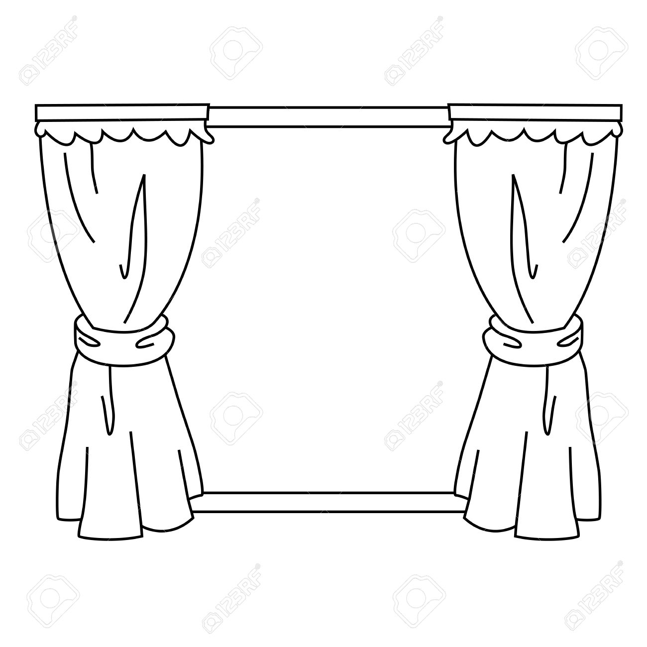Wonderful Black Outline Vector Curtain On White Background. Stock Vector   25307037