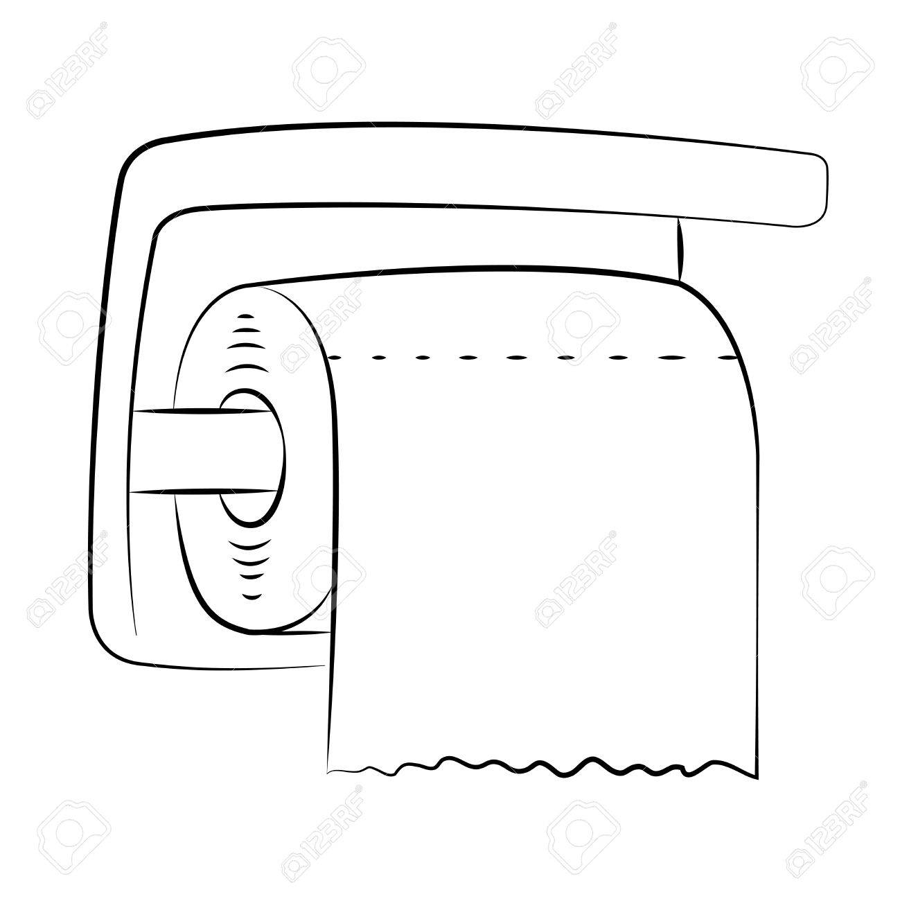 black outline vector toilet paper on white background. royalty free