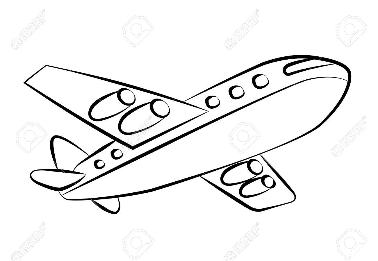 Black Outline Vector Airplane On White Background Royalty Free