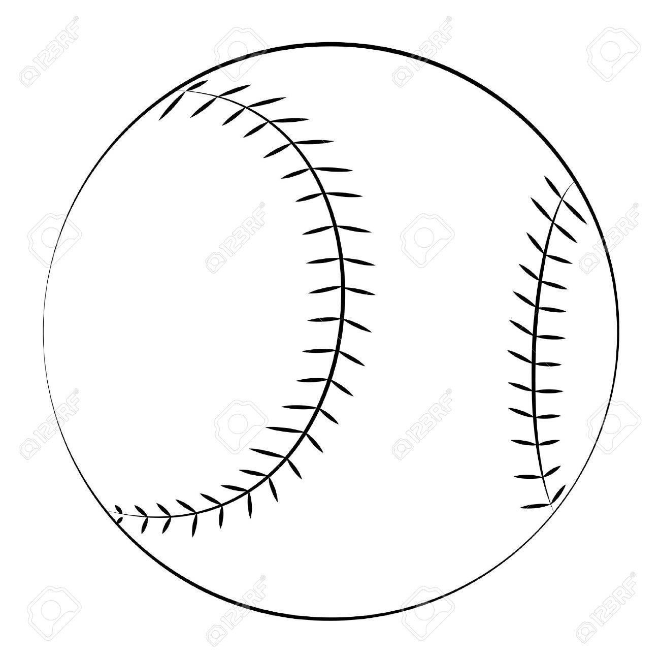 black outline vector baseball on white background royalty free
