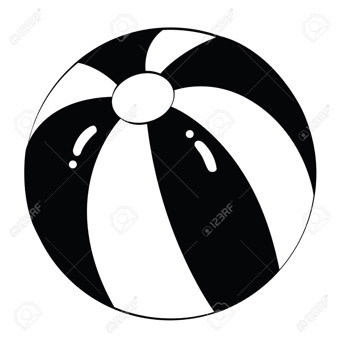 Black Outline Vector Beach Ball On White Background. Stock Vector   25307177
