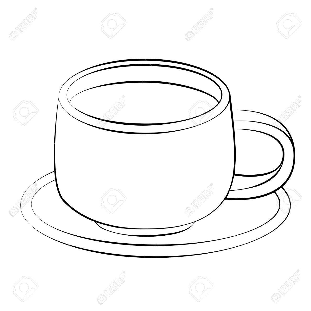 Tasse clipart  Contour Noir De Vecteur Tasse De Café Sur Fond Blanc. Clip Art ...