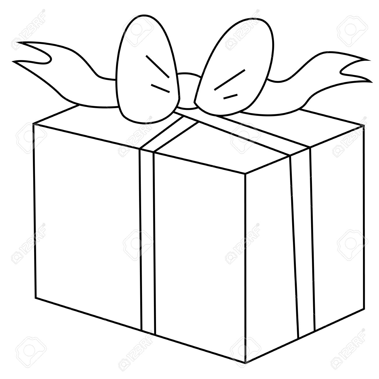 Black Outline Vector Gift Box On White Background Royalty Free