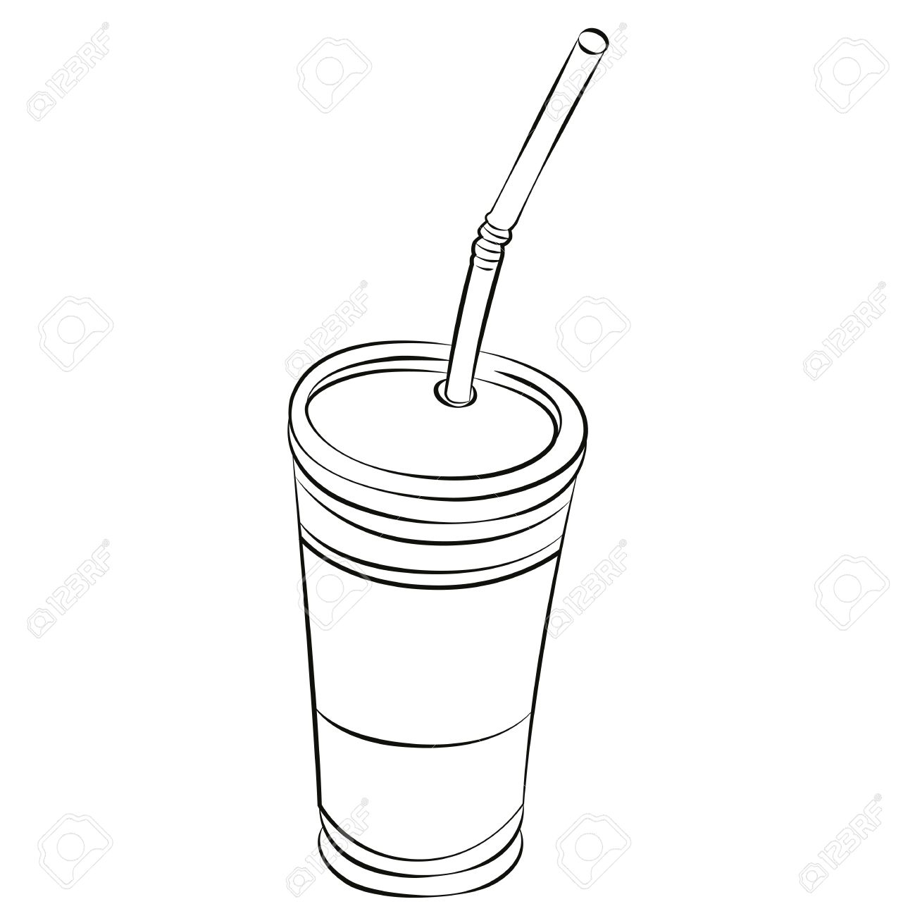 Black Outline Vector Glass Of Iced Coffee On White Background Stock
