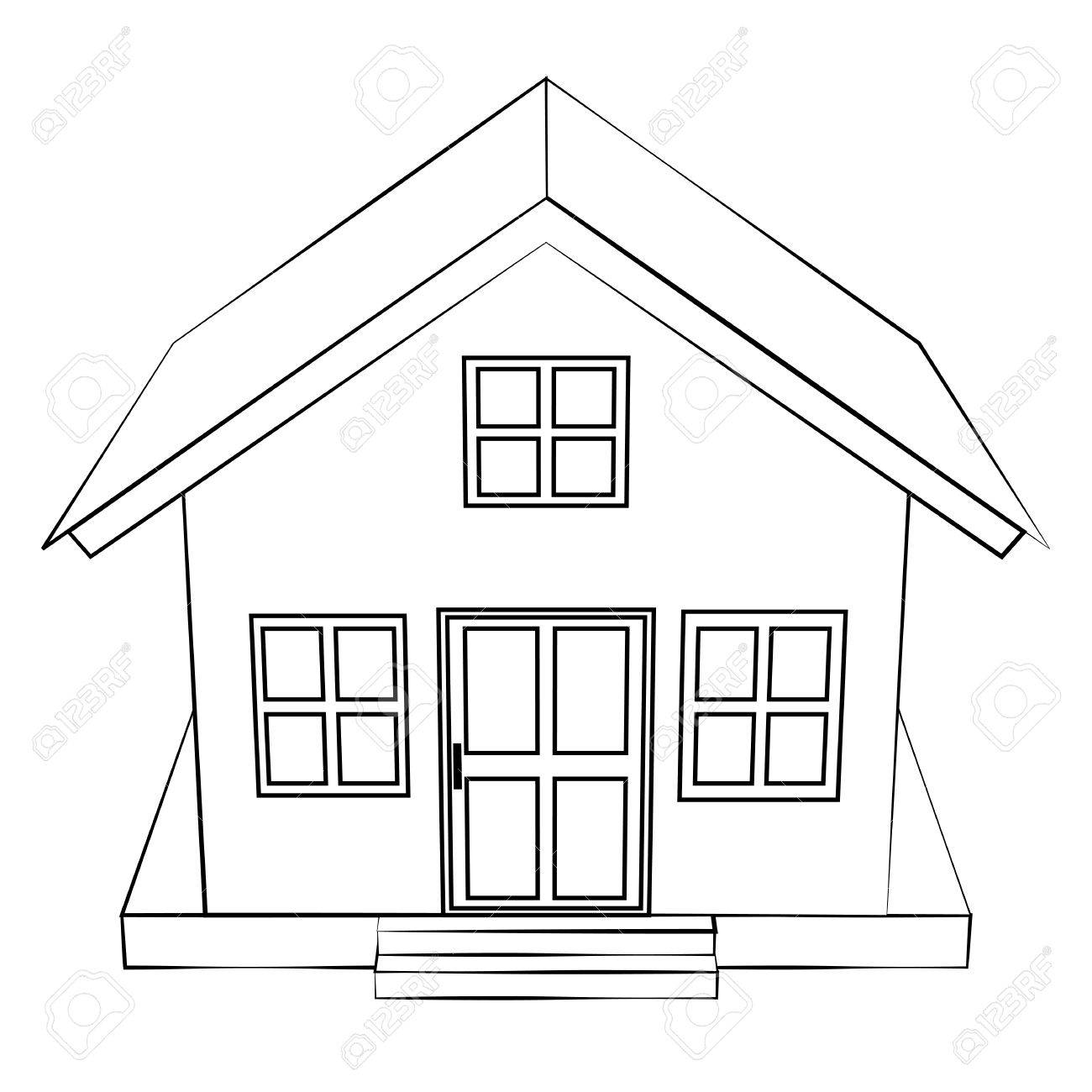 House outline picture - Black Outline Vector House On White Background Stock Vector 25305028