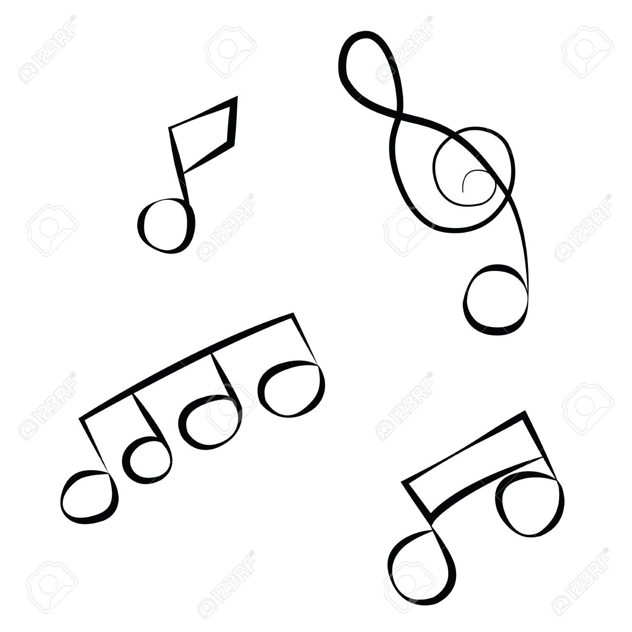 black outline vector music notes on white background royalty free rh 123rf com vector music notes free vector music notes png