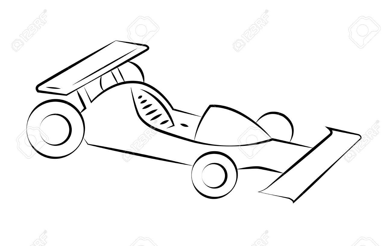 black outline vector racing car on white background royalty free