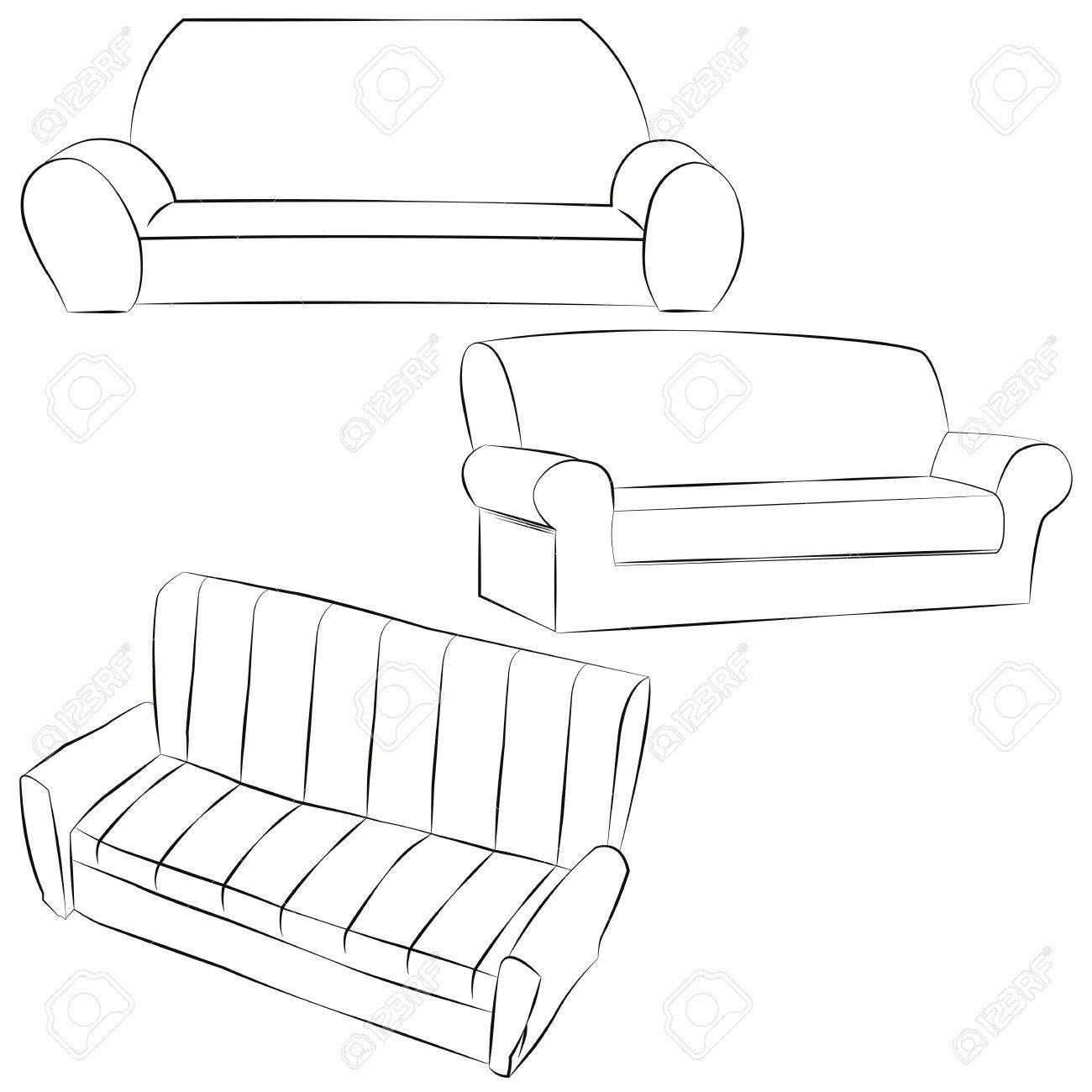 canapé. dessin à main levée. icône en noir et blanc illustration