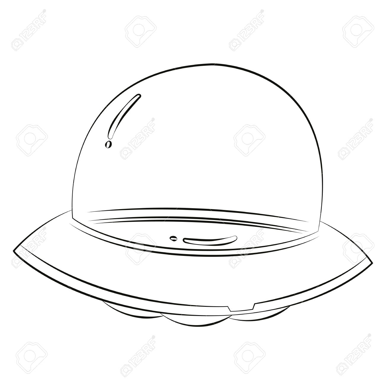 black outline vector ufo on white background royalty free