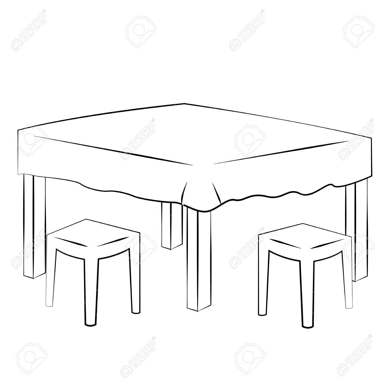 dinner table clipart black and white. black outline vector dining table on white background. stock - 35620637 dinner clipart and i