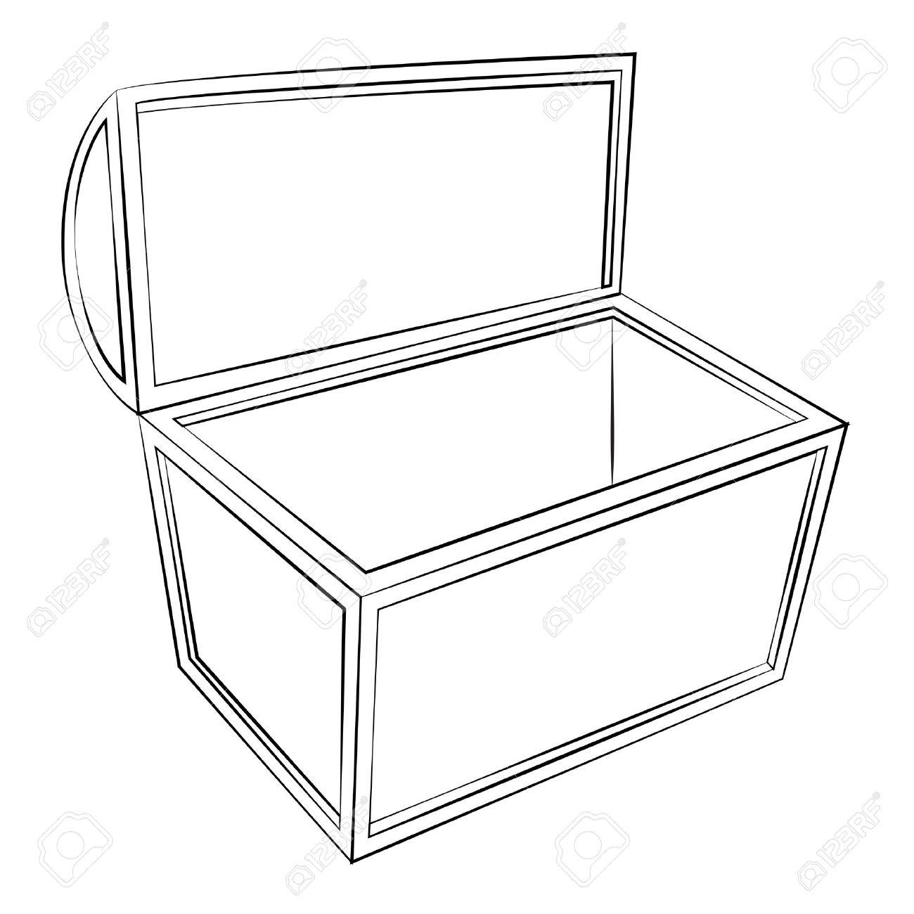 black outline vector treasure chest on white background royalty