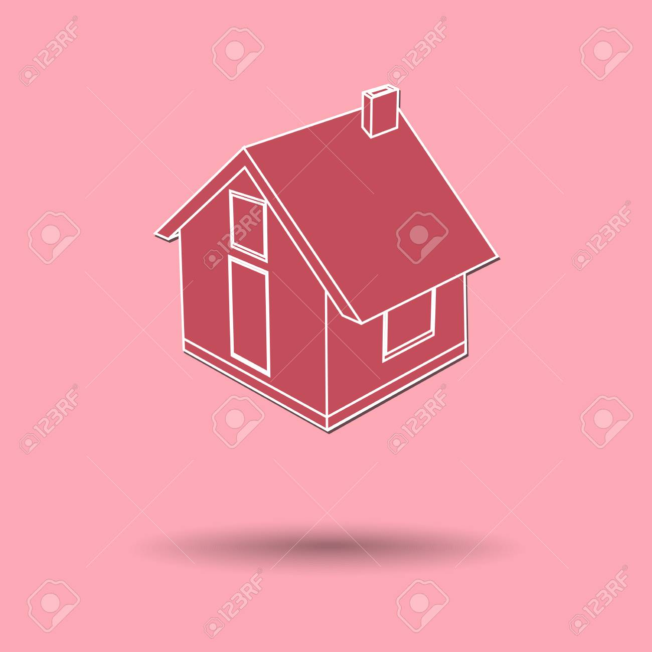 Vector Illustration Of House Color Background. Royalty Free Cliparts ...