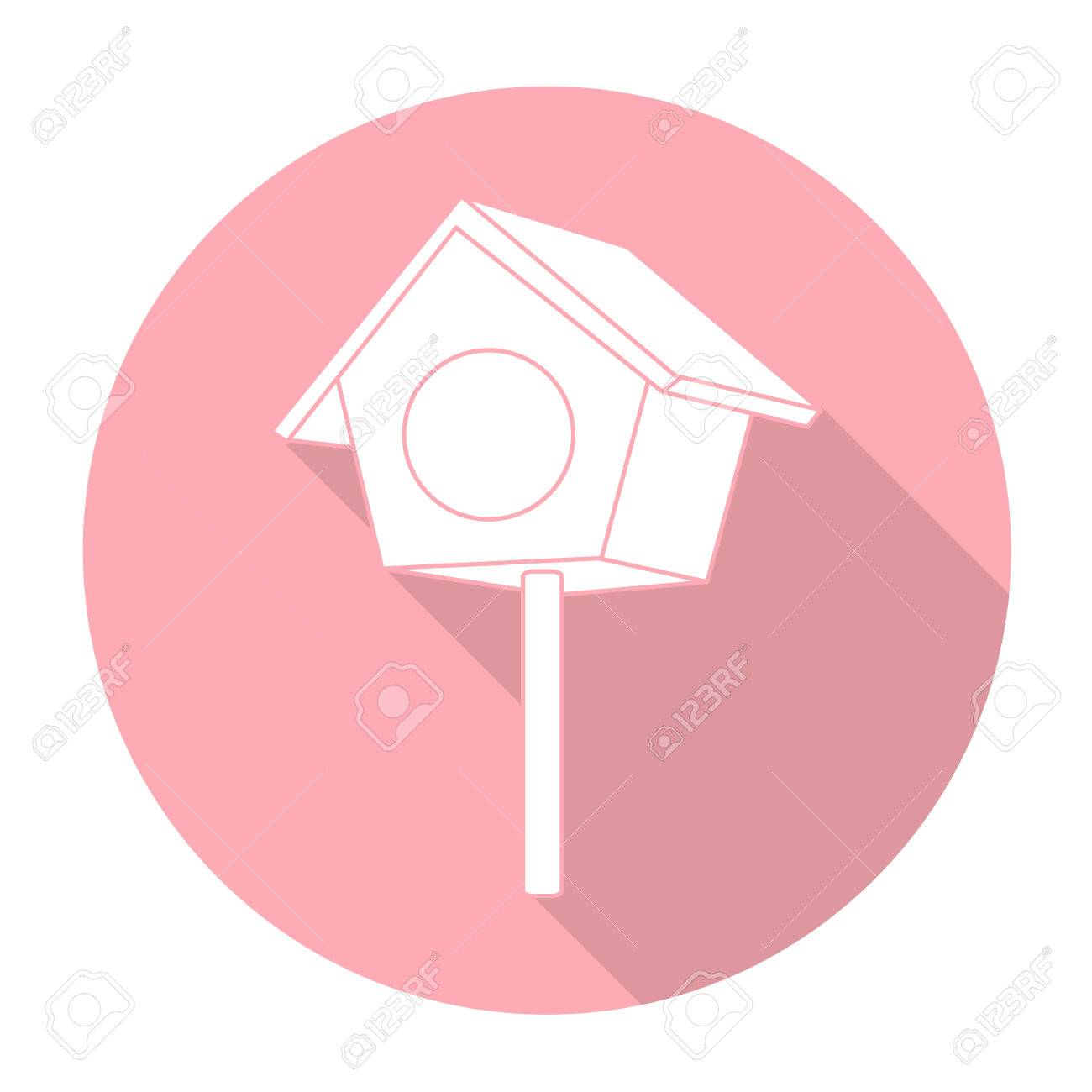White Vector Bird House On Color Circle Background. Royalty Free ...
