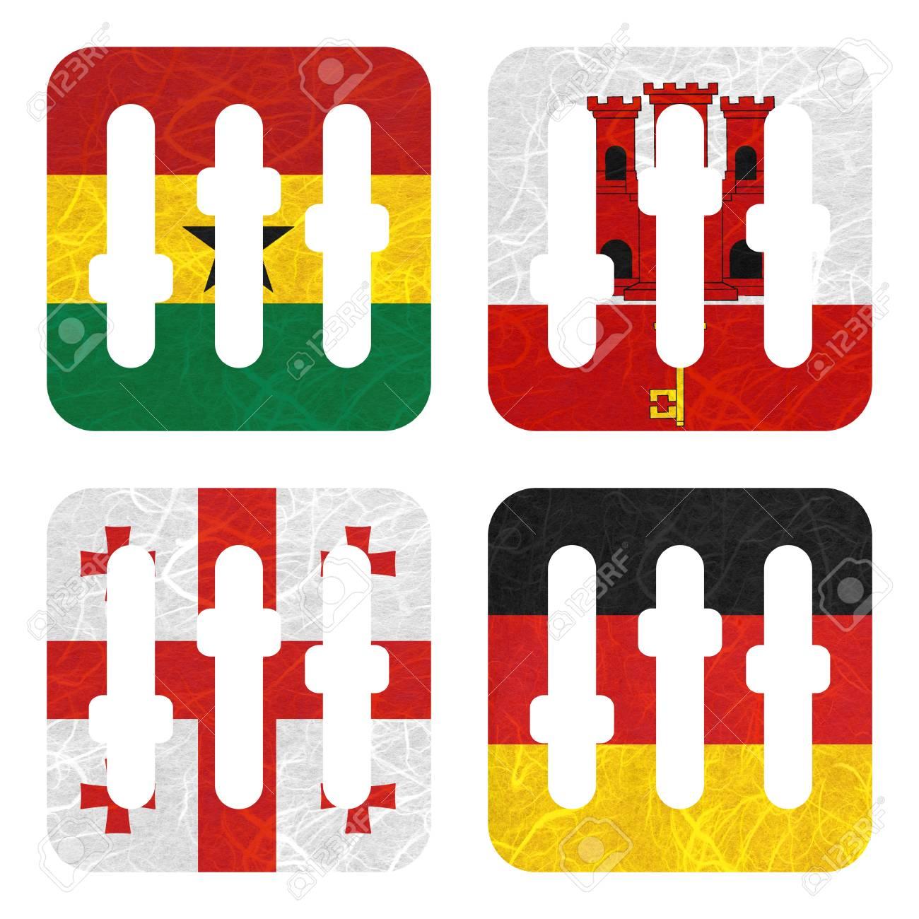 Bandiera Nazione Film Striscia Di Carta Riciclata Su Sfondo Bianco