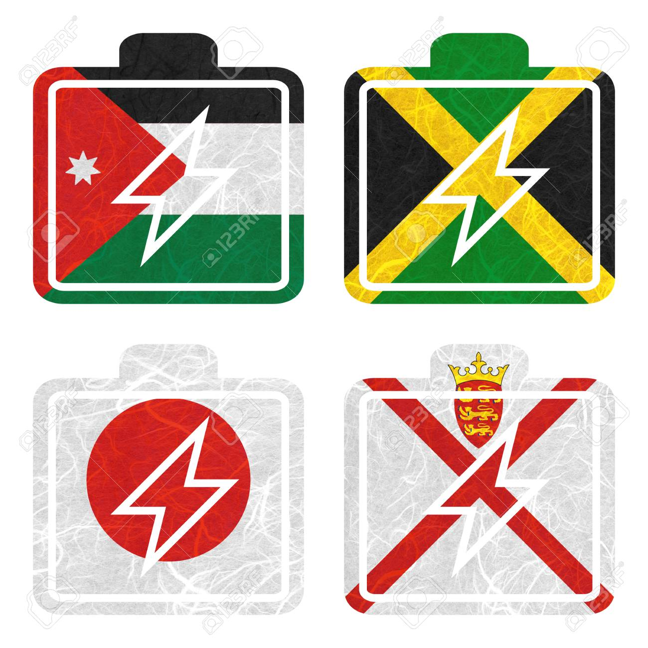 Nation Flag  Battery recycled paper on white background  ( Jamaica