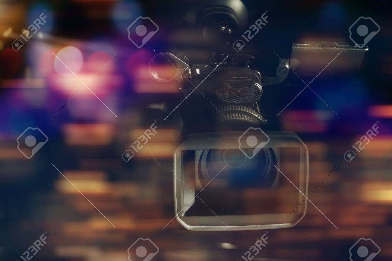 professional video camcorder in studio with blurred background Stock Photo - 69610841