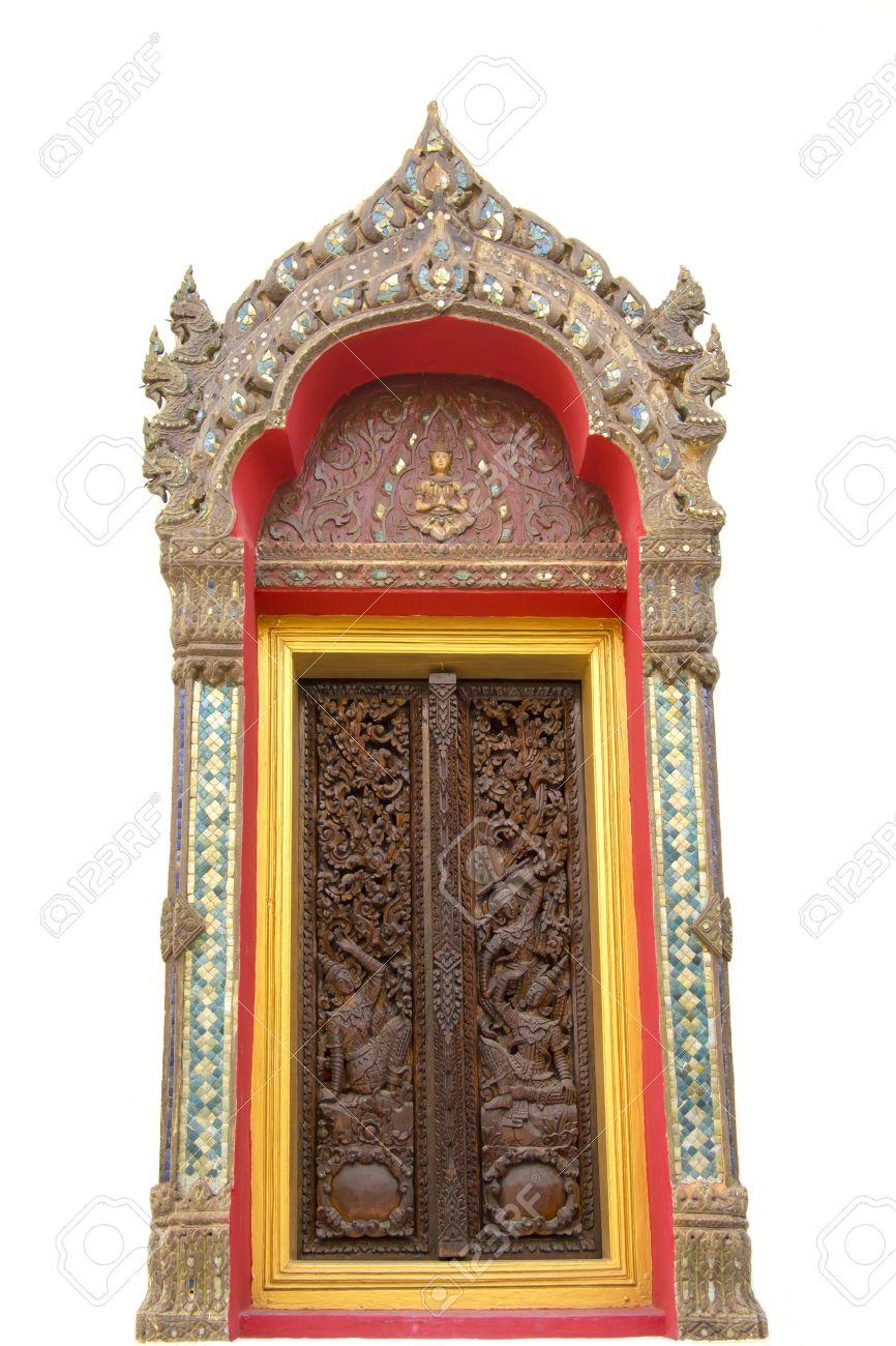 Thai ancient design on wooden door in temple of Kalasin Thailand Stock Photo - 18574870