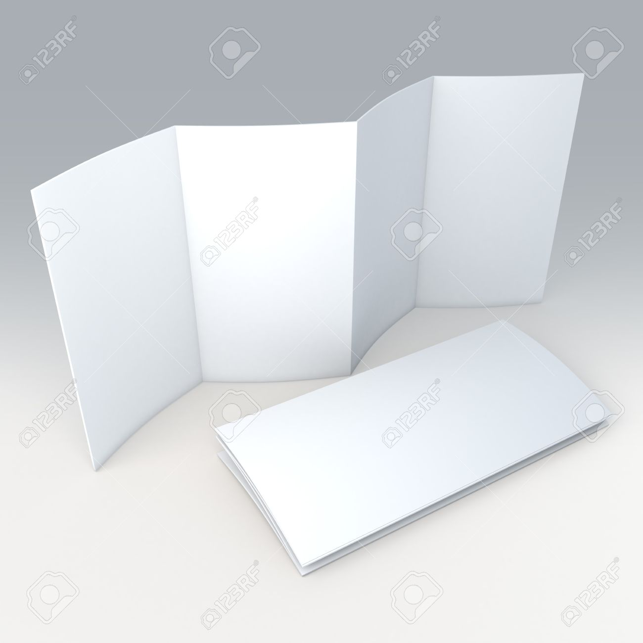 3d clean white blank 8 pages accordion fold brochure in isolated
