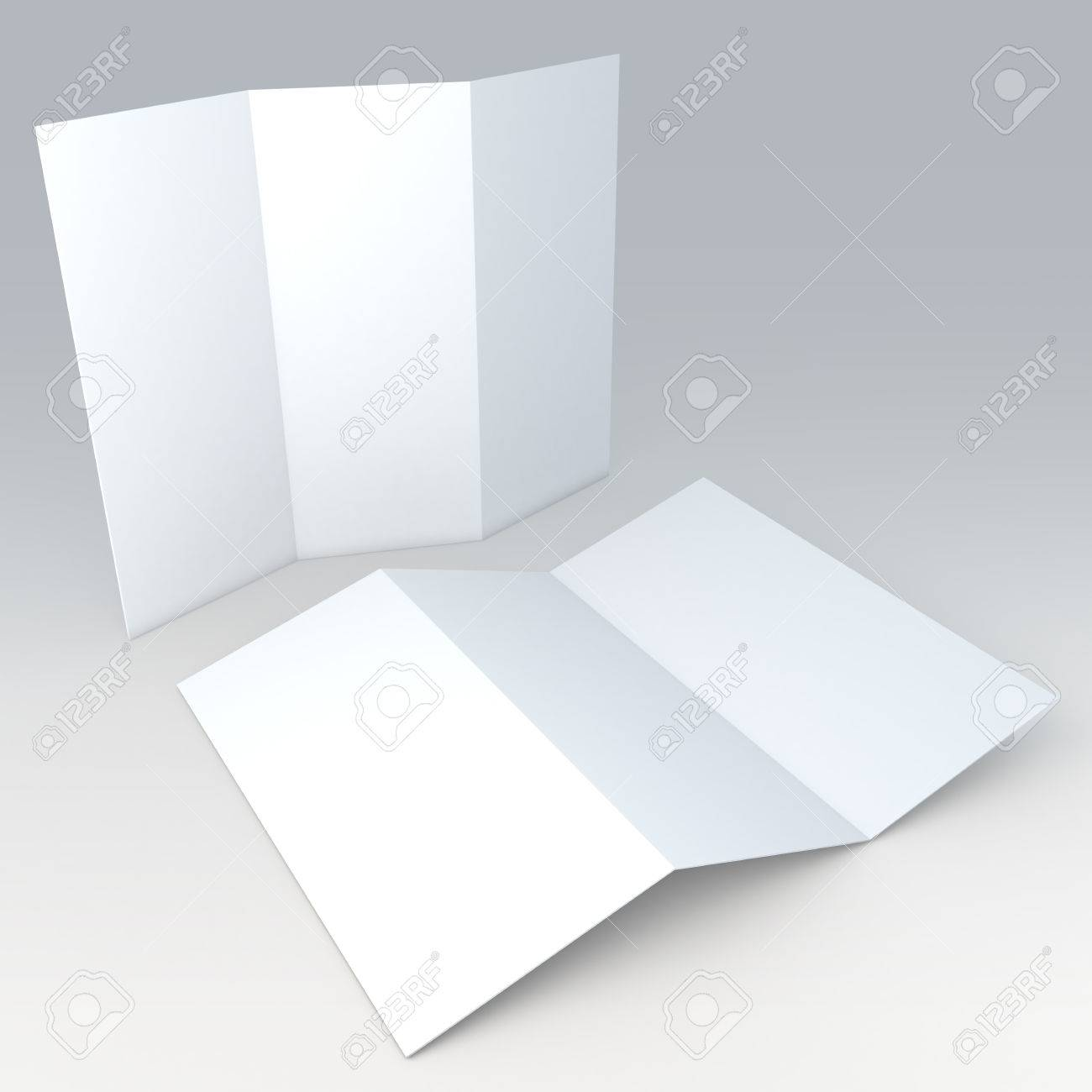 3d Clean White Blank Template Brochure Leaflet In Isolated