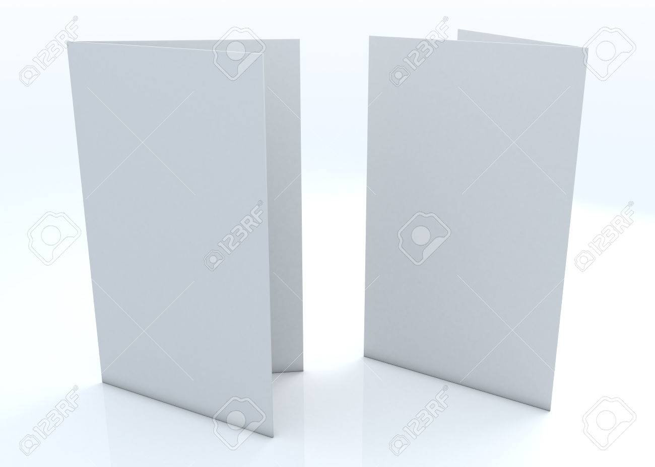 3d Blank Clean White Greeting Card Template 2 Side With Reflection