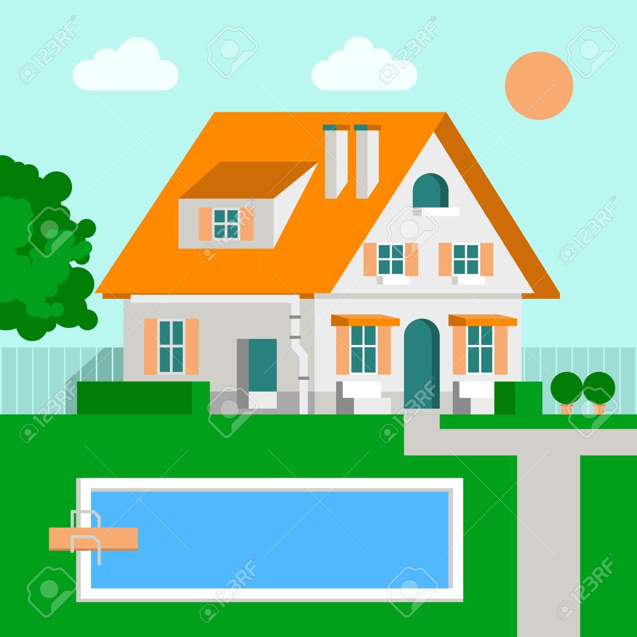 House design cartoon - Vector Illustration Family House Cartoon Flat Design Stock Vector 53371503