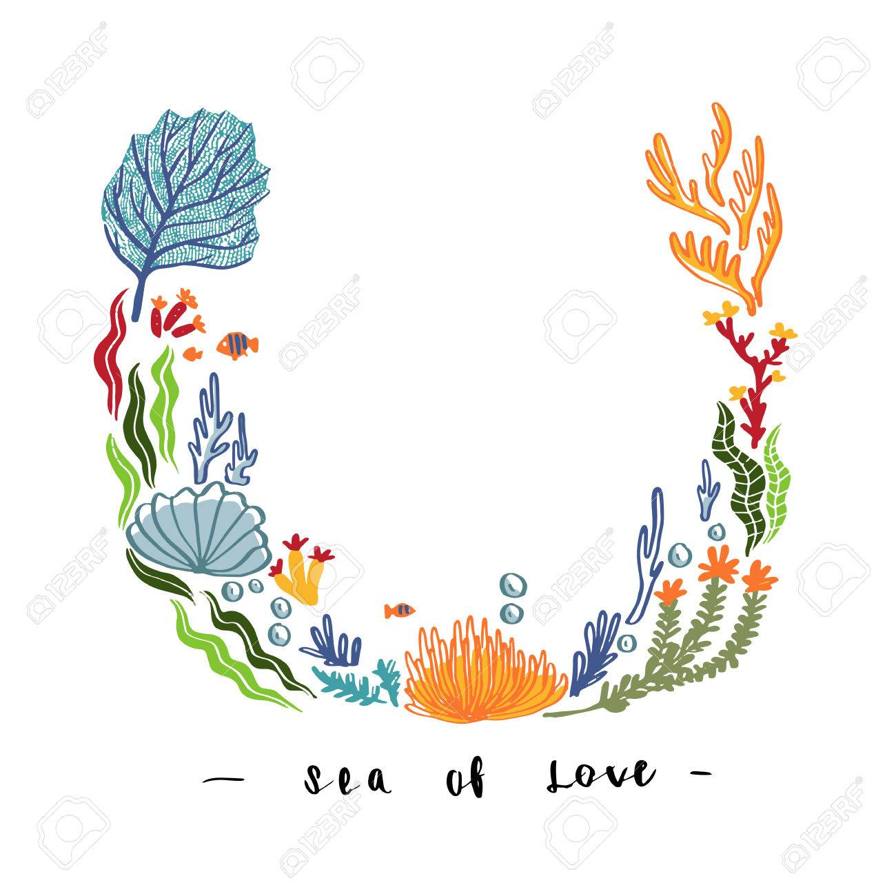 Hand draw sea weed and flowers coral design for mock up template hand draw sea weed and flowers coral design for mock up template greeting invitation izmirmasajfo