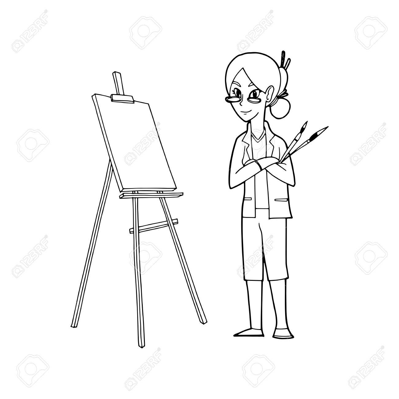 Un Artista Que Sostiene Las Brochas Y El Caballete Lienzo Para Pintar Ilustración Vectorial Ilustraciones Vectoriales Clip Art Vectorizado Libre De Derechos Image 87111074