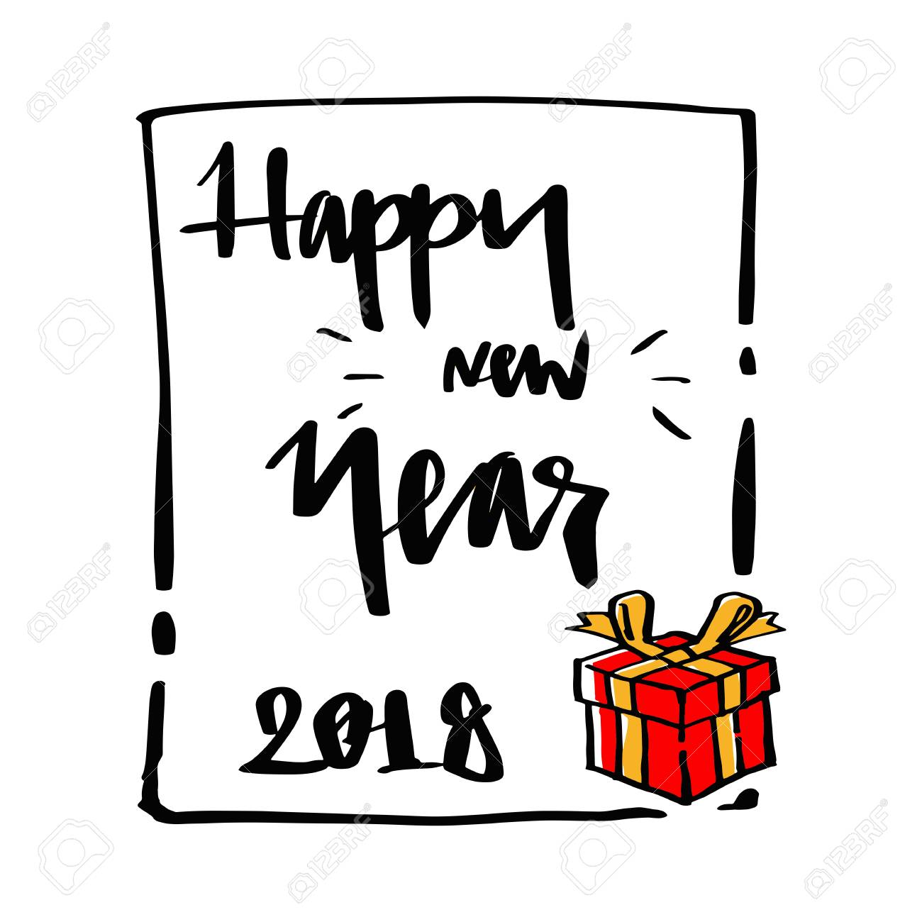 gift box and happy new year 2018 lettering calligraphy illustration vector greeting and invitation card