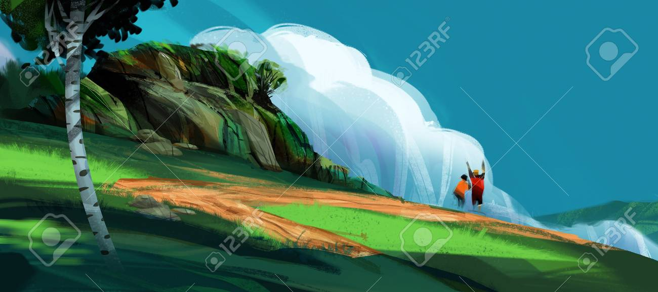 a couple standing on the high hill against mountains and blue sky, digital illustration art painting design style. (wide screen) - 111072686