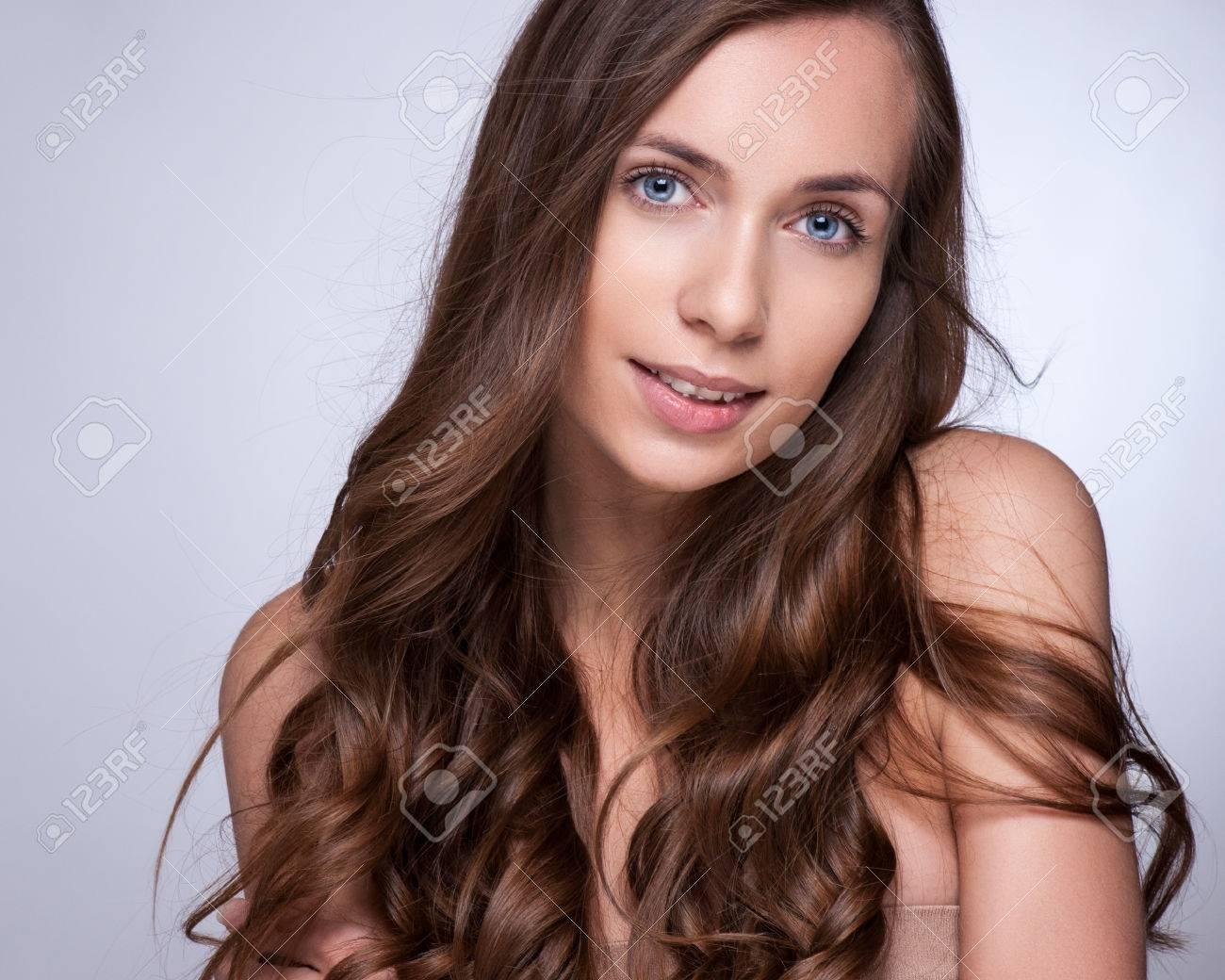 Haare Schönes Brunette Mädchen Gesundes Langes Haar Beauty Woman